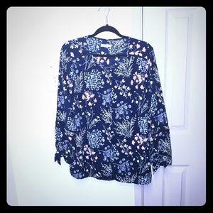 Westport blue floral button up blouse